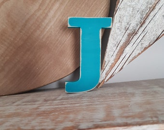 Wooden Letter J - painted and distressed - letter art, interior decor, 10cm