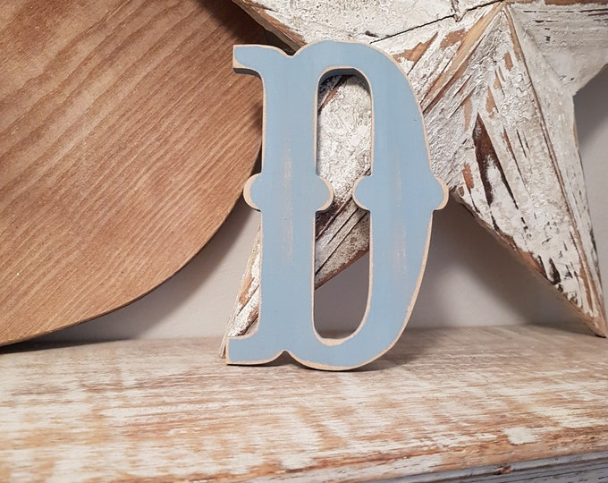 CLEARANCE - Wooden Letter D - painted and distressed - letter art, interior decor, 15cm