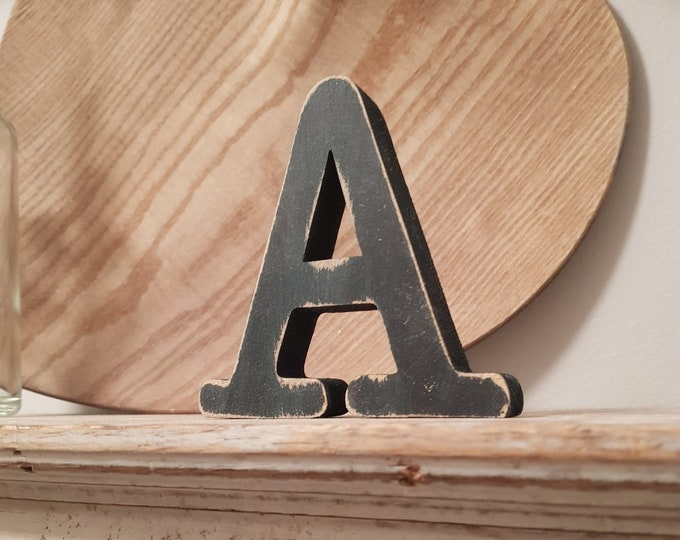 Wooden Letter 'A' -  15cm x 18mm - Typewriter Font - various finishes, standing