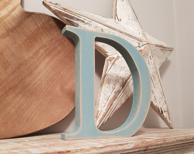 Wooden Letter 'D' -  15cm x 18mm - Georgian Font - various finishes, standing