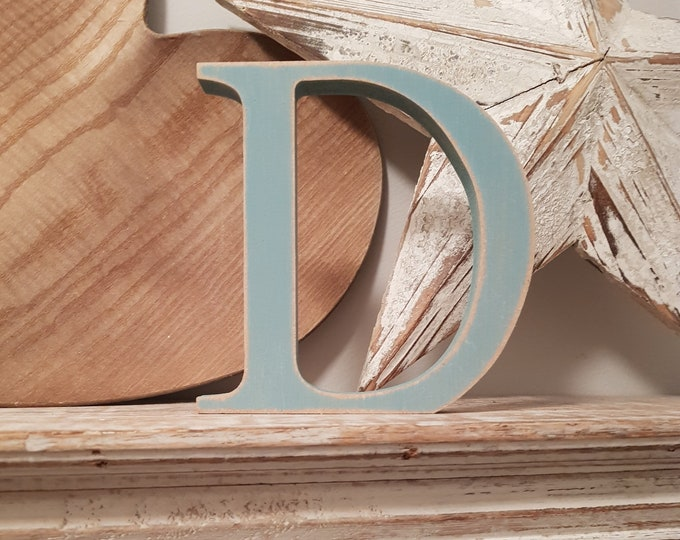 Wooden Letter D - 15cm x 18mm, Freestanding - Georgian Font - Various sizes, finishes and colours