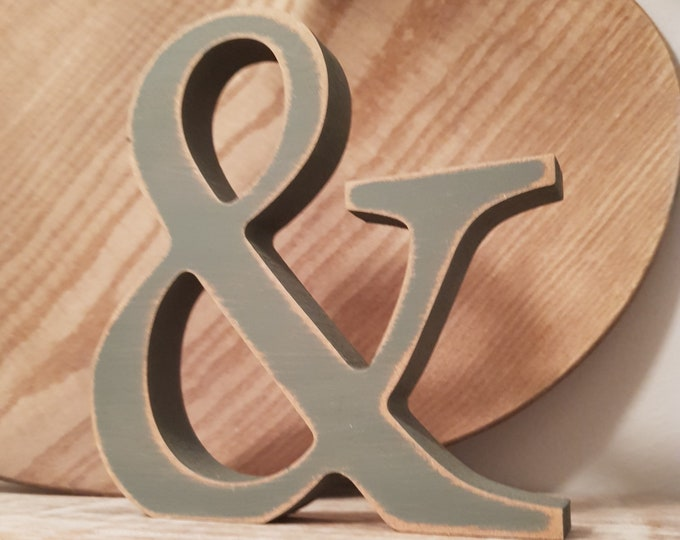 Wooden Letter '&' - ampersand -  30cm - Georgian Font - various finishes, standing