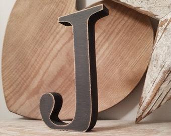 Wooden Letter 'J' - 25cm - Georgian Font - various finishes, standing