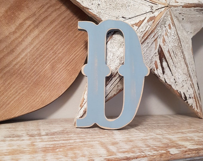 Wooden Letter 'D' -  25cm x 18mm - Circus Font - various finishes, standing