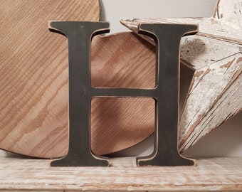 Wooden Letter 'H' -  20cm x 18mm - Georgian Font - various finishes, standing