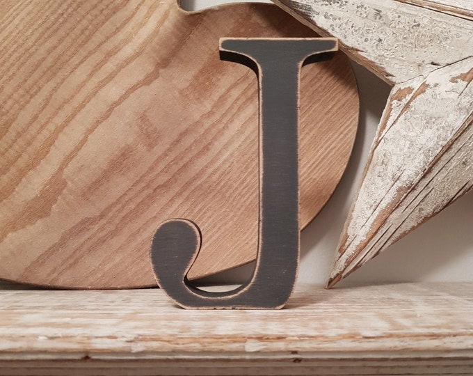 Wooden Letter J - 20cm x 18mm, Freestanding - Georgian Font - Various sizes, finishes and colours