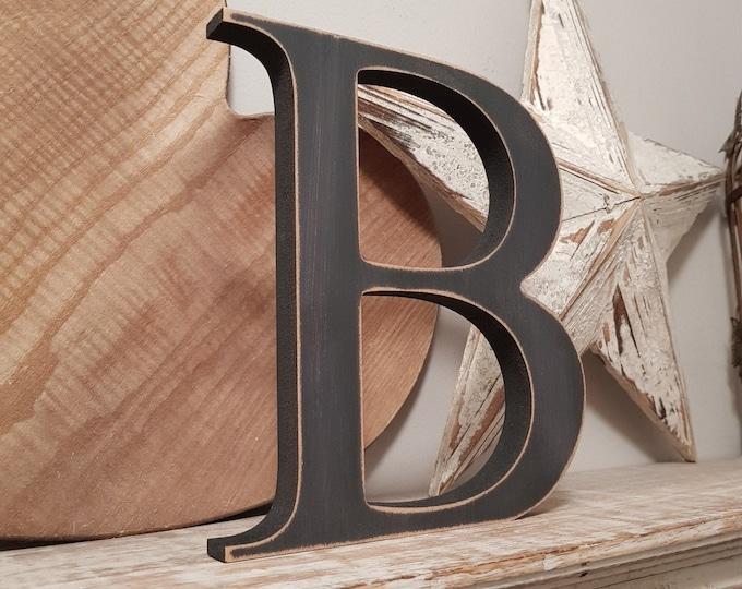 Wooden Letter 'B' -  10cm - Georgian Font - various finishes, standing