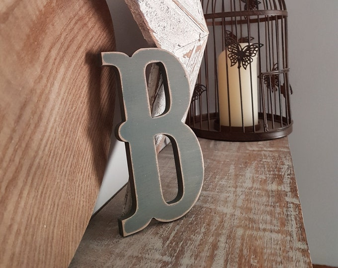 Wooden Letter 'B' -  25cm x 18mm - Circus Font - various finishes, standing