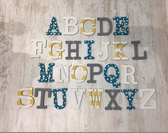 Full Wooden Alphabet - Hand Painted Wooden Letters Set - 26 letters - 10cm high, Typewriter font, any colours