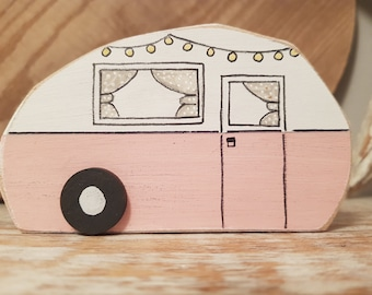 Painted Wooden Caravan Decoration ... standing, named, campers, glampers ... No.3 is Nancy