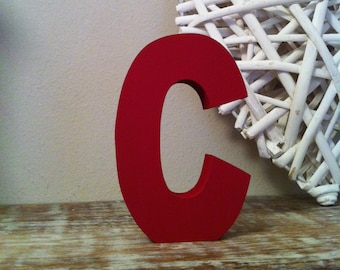 Wooden Letter 'C' -  10cm x 18mm - Ariel Font - various finishes, standing