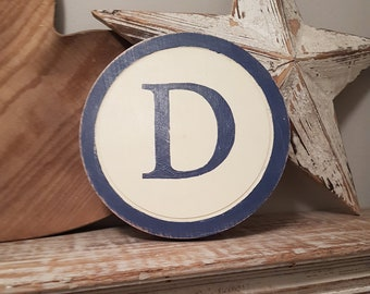 50cm Round Letter D Sign, Monogram, Initial, Wall Art, Home Decor, Rustic Letters, All letters available, inc ampersand, typewriter style