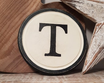 30cm Round Letter T Sign, Monogram, Initial, Wall Art, Home Decor, Rustic Letters, All letters available, inc ampersand, typewriter style