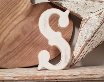 Wooden Letter S - painted and distressed - letter art, interior decor, 15cm