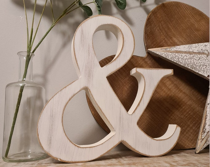 Wooden Letter '&' -  25cm x 25mm - Roman Font - various finishes, standing