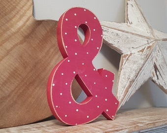 Wooden Letter Ampersand - 15cm, Freestanding - Ariel Font - Various sizes, finishes and colours