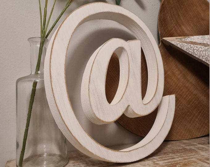 Wooden Letter '@' -  30cm x 25mm - Roman Font - various finishes, standing