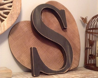 Wooden Letter 'S' -  25cm x 18mm - Georgian Font - various finishes, standing