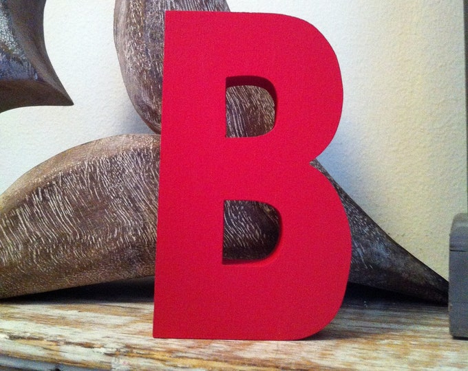 Wooden Letter 'B' -  10cm x 18mm - Ariel Font - various finishes, standing
