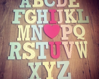 Full Wooden Alphabet - I LOVE YOU - Hand Painted Wooden Letters Set - 26 letters - 12cm high - Rockwell S Font, various colours and finishes