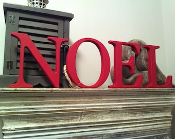 Christmas Hand-painted Wooden Letters - NOEL - 10cm