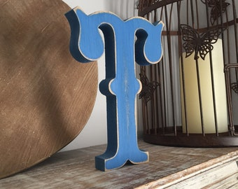 Painted Wooden Letter - Large Letter T,  Circus Font, 40cm high, 16 inch, any colour, wall letter, wall decor, 18mm