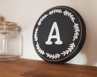 20cm Round Letter A Sign, Monogram, Initial, Wall Art, Home Decor, Rustic Letters, All letters available, inc ampersand, Chalkboard style