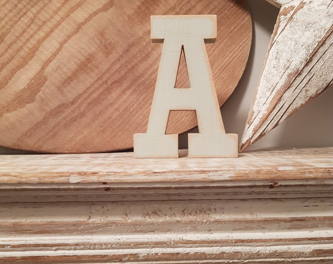 Wooden Letter A - painted and distressed - letter art, interior decor, 12cm, SALE, Clearance