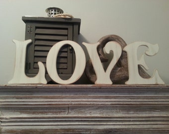 Victorian Decorative Wall Letters - Set of 4 - LOVE - 8 inches - various colours and finishes available