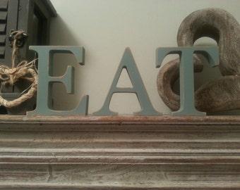 30cm Handpainted Wooden Freestanding Letters - EAT - Georgian Font