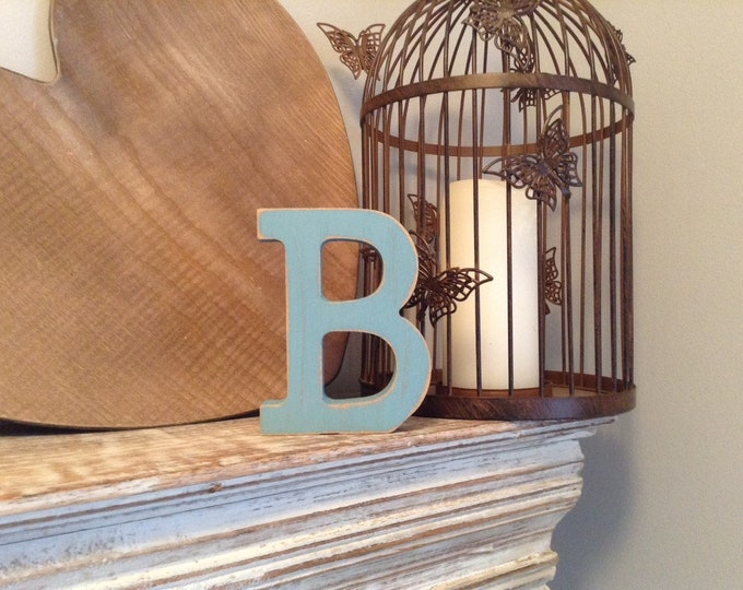 Wooden Letter 'B' -  10cm x 18mm - Rockwell Font - various finishes, standing