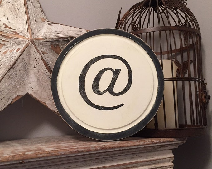 15cm Round Letter @ Sign, Monogram, Initial, Wall Art, Home Decor, Rustic Letters, All letters available, inc ampersand, typewriter style