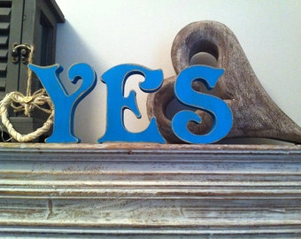 Fee-standing Wooden Letters - YES - Victorian Font - 10cm - Photo Props weddings engagements