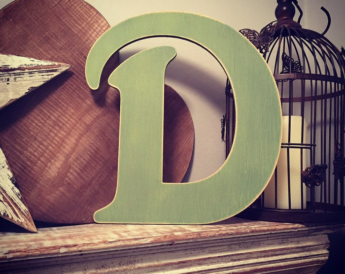 Wooden Letter D – Personalized Name Letter – Nursery Decoration Ideas – Rustic Room Décor – Victorian Style – Decorative Wooden Sign - 25cm