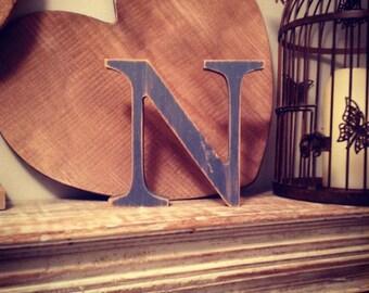 Wooden Letter 'N' -  25cm x 18mm - Georgian Font - various finishes, standing