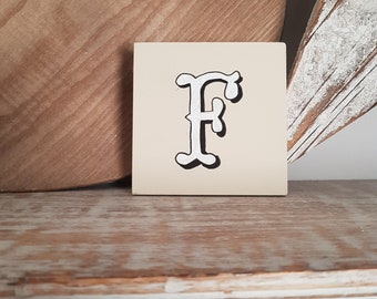 personalised letter blocks, initials, wooden letters, monograms, letter F,  10cm square, hand painted