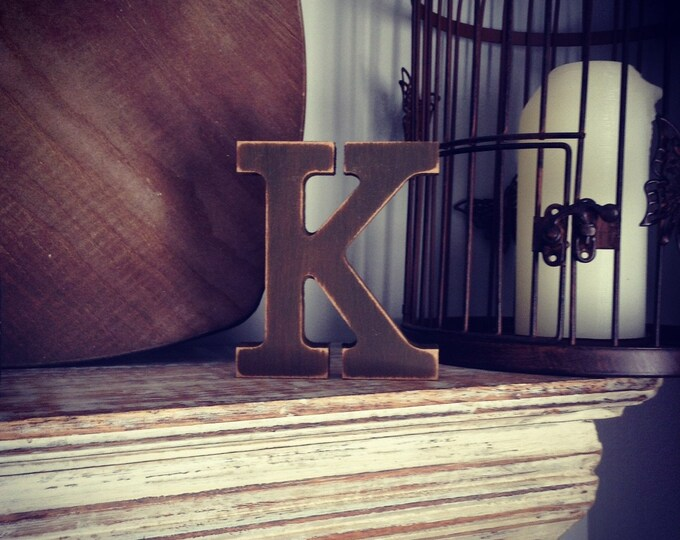 Wooden Letter 'K' - 25cm - Rockwell Font - various finishes, standing