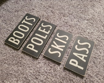 Set of 4 Wooden Ski Signs, Chalet, Lodge, Apartment Decor, Ski Decor