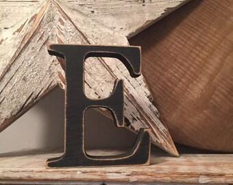 Wooden Letter 'E' -  25cm - Georgian Font - various finishes, standing