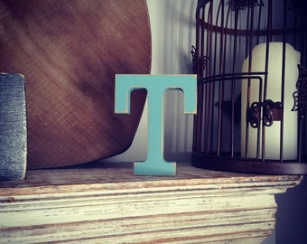 Wooden Letter 'T' - 10cm - Rockwell Font - various finishes, standing