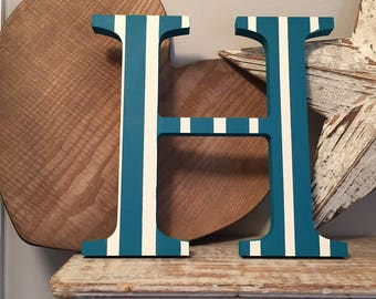 Painted Wooden Letter H - Large , Georgia Font, 50cm high, almost 20 inch, any colour, wall letter, wall decor, 18mm, price per letter