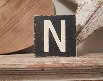 wooden sign, vintage style, personalised letter blocks, initials, wooden letters, monograms, letter N,  10cm square, hand painted