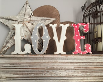 Wooden Wedding Letters 'LOVE' - 15cm - Circus Style Font, Carnival, Standing, painted, various colours and finishes
