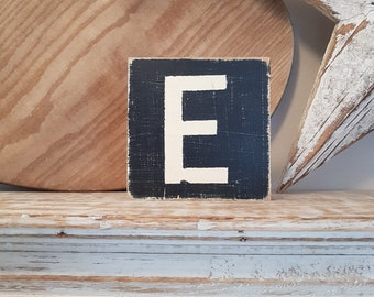 wooden sign, vintage style, personalised letter blocks, initials, wooden letters, monograms, letter E,  10cm square, hand painted