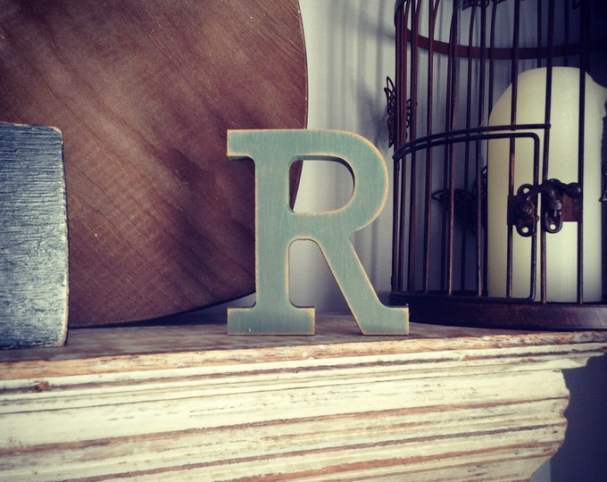 Wooden Letter R – Personalized Name Letter – Nursery Decoration Ideas – Rustic Room Décor – Rockwell Style R – Decorative Wooden Sign