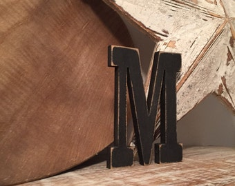 Hand-painted Wooden Letter M, Wall Letter, 9mm thick - Rockwell Font - Various sizes, finishes and colours