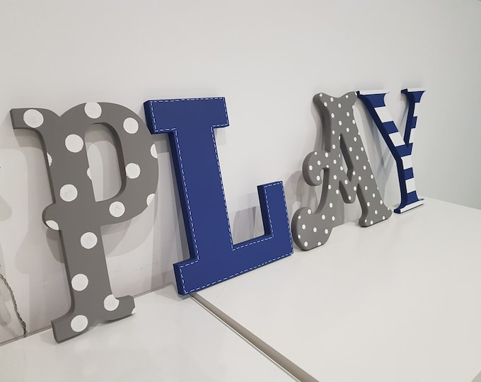 Wooden Letters PLAY, Play Room Decor, Kid's Room, Nursery - wall letters - various colours & finishes, 25cm high
