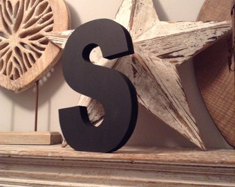 Hand-painted Wooden Letter S - Freestanding - Ariel Font - Various sizes, finishes and colours