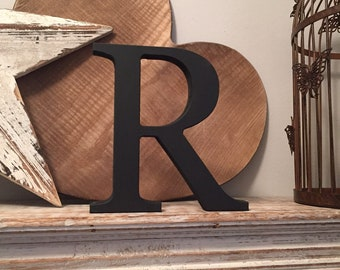 Wooden Letter R - 30cm x 18mm, Freestanding - Georgian Font - Various sizes, finishes and colours