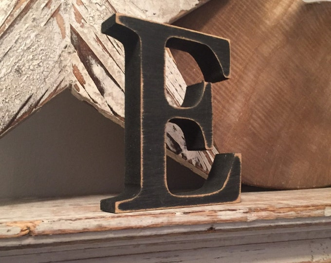 Wooden Letter E  - Free-standing - Georgia Font - 25cm x 18mm - Various sizes, finishes and colour